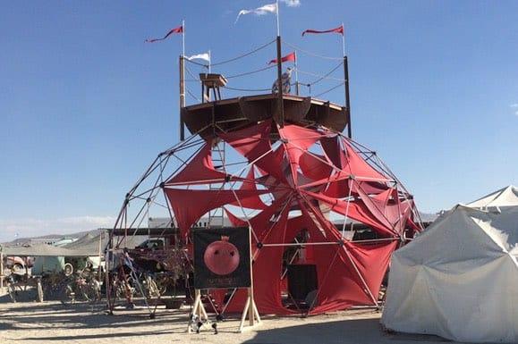 Burning Man Festival shade dome desert